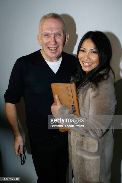 Stylist JeanPaul Gaultier and Anggun pose after the JeanPaul Gaultier Haute Couture Spring Summer 2018 show as part of Paris Fashion Week on January...