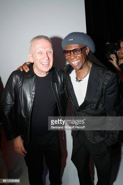 Stylist JeanPaul Gaultier and musician Nile Rodgers pose after the JeanPaul Gaultier Haute Couture Fall Winter 2018/2019 show as part of Paris...