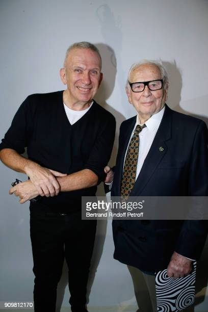 Stylist JeanPaul Gaultier and Pierre cardin whose parade was in tribute pose after the JeanPaul Gaultier Haute Couture Spring Summer 2018 show as...
