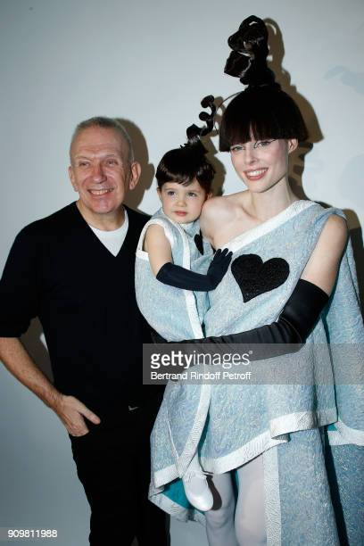 Stylist JeanPaul Gaultier Model Coco Rocha and her daughter Ioni Conran pose after the JeanPaul Gaultier Haute Couture Spring Summer 2018 show as...