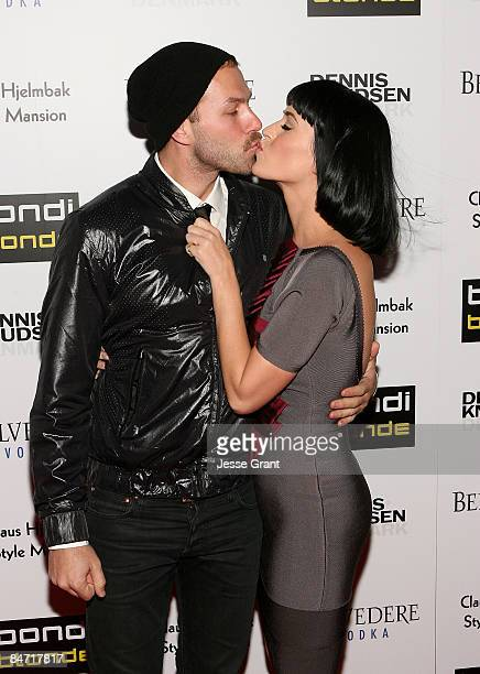 Stylist Johnny Wujek and musician Katy Perry arrive at Bondi Blonde's Style Mansion Hosted By Katy Perry at the Style Mansion International on...