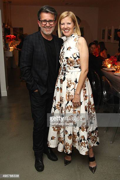 Stylist Joseph Cassell and fashion designer Lela Rose attend the Lela Rose Los Angeles Dinner on November 4 2015 in Los Angeles California