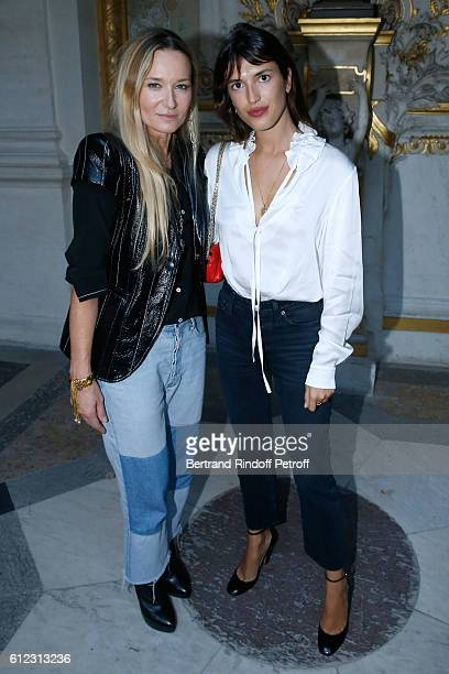 Stylist Julie de Libran and Jeanne Damas pose after the Sonia Rykiel show as part of the Paris Fashion Week Womenswear Spring/Summer 2017 on October...