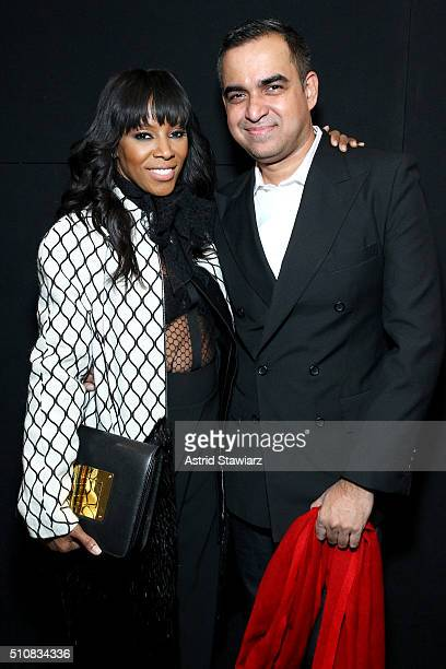 Stylist June Ambrose and designer Bibhu Mohapatra backstage at the Bibhu Mohapatra Fall 2016 fashion show during New York Fashion Week The Shows at...