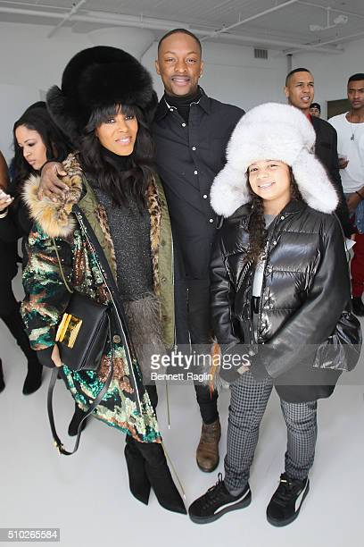Stylist June Ambrose and her daughter Summer Chamblin pose at SheaMoisture at Laquan Smith F/W 2016 NYFW at Jack Studios on February 14 2016 in New...