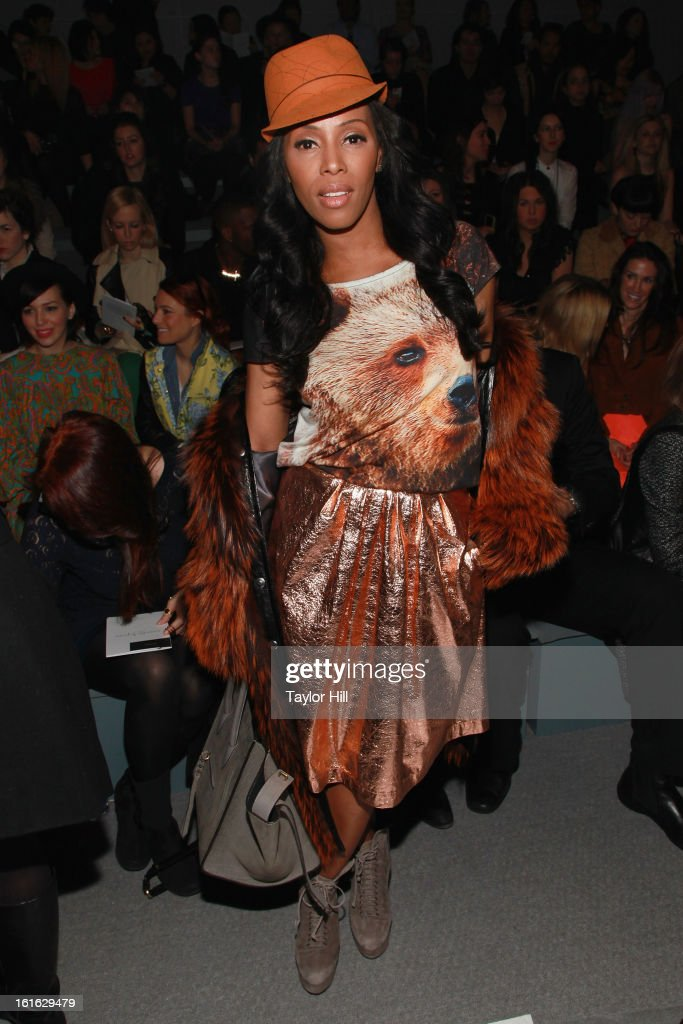 Stylist June Ambrose attends the Nanette Lepore Fall 2013 Mercedes-Benz Fashion Show at The Stage at Lincoln Center on February 13, 2013 in New York City.