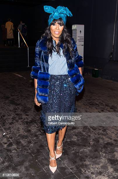 Stylist June Ambrose is seen outside the Dennis Basso Fall 2016 fashion show during New York Fashion Week The Shows at The Arc Skylight at Moynihan...
