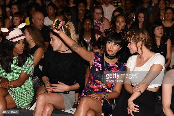 Stylist June Ambrose model Ashley Smith actress Jackie Cruz and actress Emily Althaus attend the Betsey Johnson fashion show during Spring 2016 New...