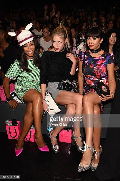 Stylist June Ambrose model Ashley Smith and actress Jackie Cruz attend the Betsey Johnson fashion show during Spring 2016 New York Fashion Week The...