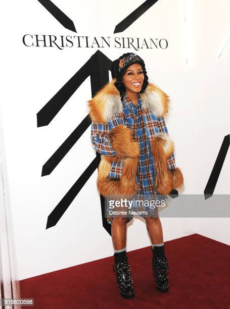 Stylist June Ambrose poses backstage for the Christian Siriano fashion show during New York Fashion Week at the Grand Lodge on February 10 2018 in...