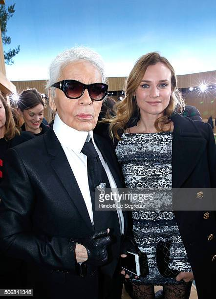 Stylist Karl Lagerfeld and Actress Diane Kruger attend the Chanel Spring Summer 2016 show as part of Paris Fashion Week on January 26, 2016 in Paris,...