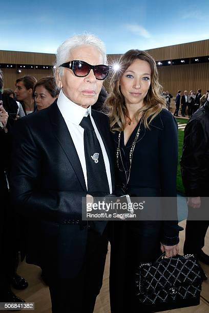 Stylist Karl Lagerfeld and Actress Laura Smet attend the Chanel Spring Summer 2016 show as part of Paris Fashion Week on January 26 2016 in Paris...