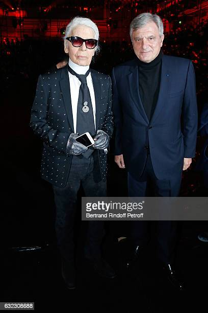 Stylist Karl Lagerfeld and CEO Dior Sidney Toledano attend the Dior Homme Menswear Fall/Winter 20172018 show as part of Paris Fashion Week on January...