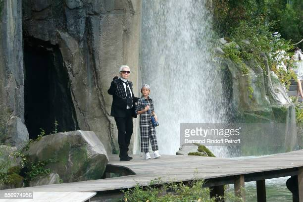 Stylist Karl Lagerfeld and his Godson Hudson Kroenig walk the runway at the end of the Chanel show as part of the Paris Fashion Week Womenswear...