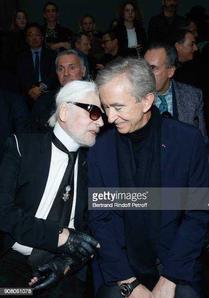 Stylist Karl Lagerfeld and Owner of LVMH Luxury Group Bernard Arnault attend the Dior Homme Menswear Fall/Winter 2018-2019 show as part of Paris...