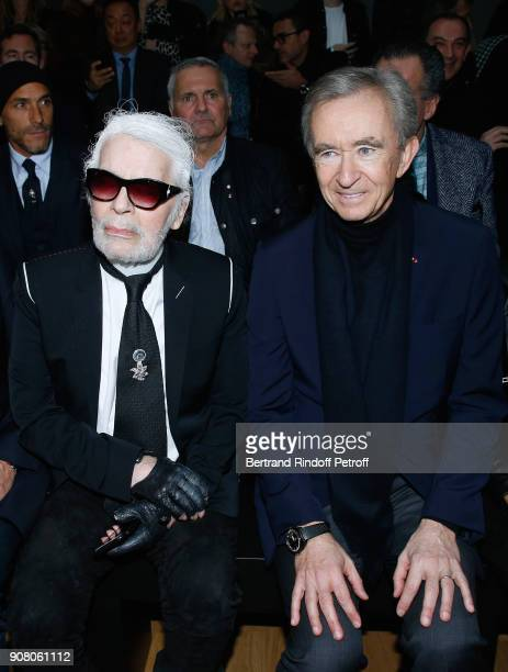 Stylist Karl Lagerfeld and Owner of LVMH Luxury Group Bernard Arnault attend the Dior Homme Menswear Fall/Winter 20182019 show as part of Paris...
