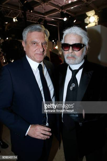 Stylist Karl Lagerfeld and Sidney Toledano attend the LVMH Prize 2018 Designers Presentation on March 1 2018 in Paris France