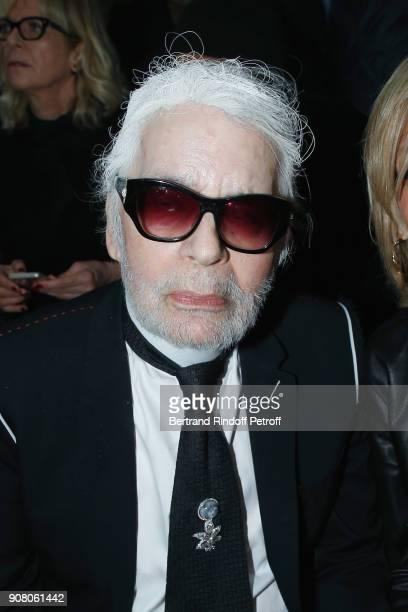 Stylist Karl Lagerfeld attends the Dior Homme Menswear Fall/Winter 20182019 show as part of Paris Fashion Week on January 20 2018 in Paris France