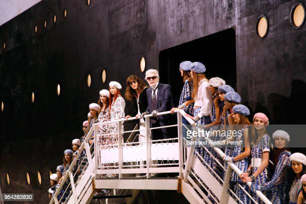 Stylist Karl Lagerfeld director of Chanel creative studio Virginie Viard and models pose at the end of the Chanel Cruise 2018/2019 Collection at Le...
