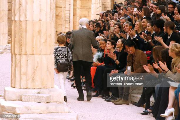 Stylist Karl Lagerfeld his nephew Hudson Kroenig and Charlotte Casiraghi attend the Chanel Cruise 2017/2018 Collection Show at Grand Palais on May 3...