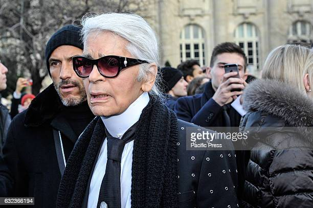 Stylist Karl Lagerfeld is seen arriving at Dior Fashion Show during Paris Fashion Week