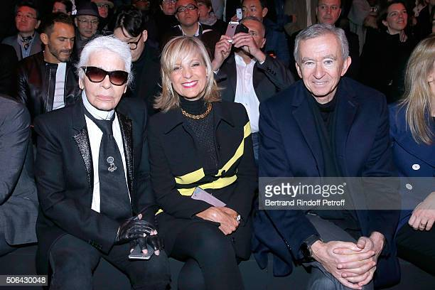 Stylist Karl Lagerfeld, Owner of LVMH Luxury Group Bernard Arnault and his wife Helene Arnault attend the Dior Homme Menswear Fall/Winter 2016-2017...