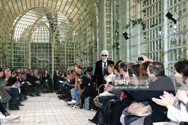 Stylist Karl Lagerfeld walks the runway at the end of the Chanel Haute Couture Spring Summer 2018 show as part of Paris Fashion Week on January 23...