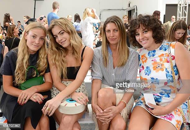 Stylist Kate Foley DJ Chelsea Leyland cofounder of La Marque Valerie Boster and baker Amirah Kassem attend the Tanya Taylor fashion show during...