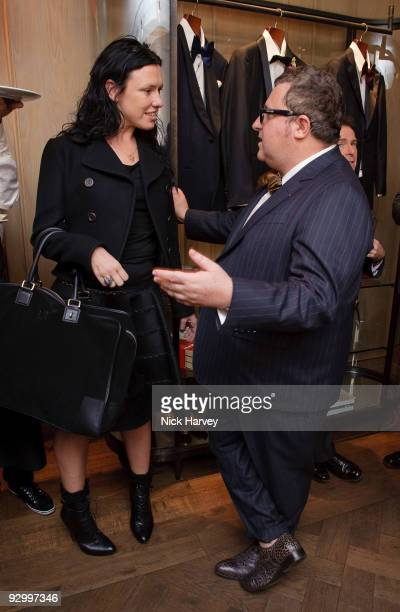 Stylist Katie Grand and designer Alber Elbaz attend the Lanvin Party to celebrate the release of Mika's EP 'Songs Of Sorrow' on November 11 2009 in...