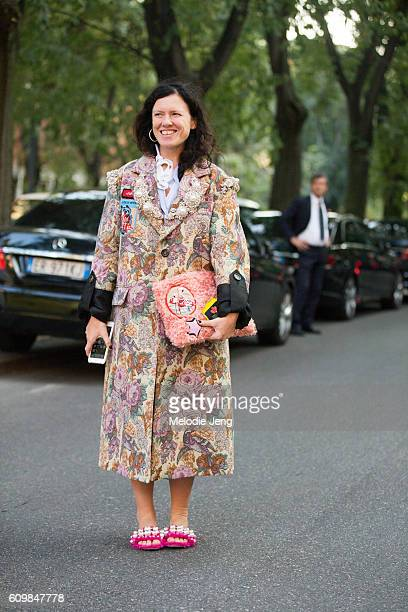 Stylist Katie Grand before the Prada show during Milan Fashion Week Spring/Summer 2017 on September 22 2016 in Milan Italy