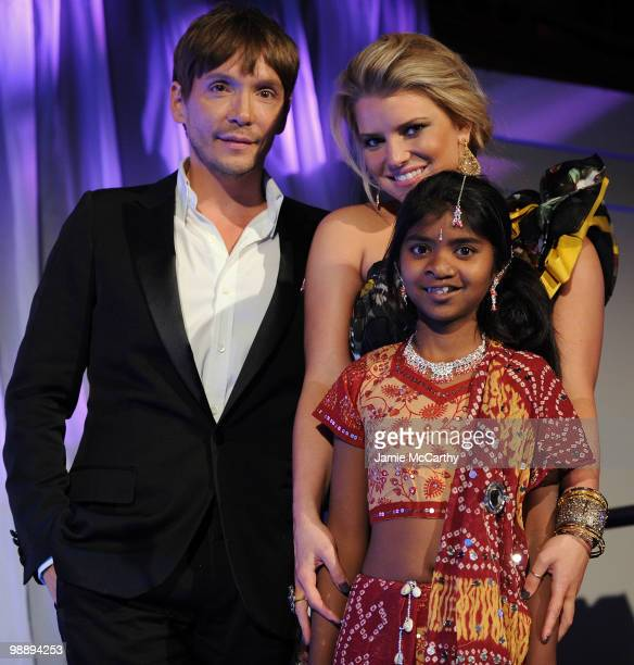 Stylist Ken Paves, Jessica Simpson and Meena pose at the Operation Smile Annual Gala at Cipriani, Wall Street on May 6, 2010 in New York City.