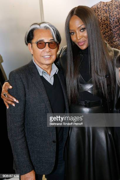 Stylist Kenzo Takada and model Naomi Campbell attend the Azzedine Alaia Je Suis Couturier Exhibition as part of Paris Fashion Week Held at Azzedine...