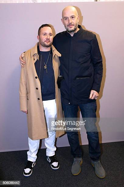 Stylist Kim Jones and Actor Jake Chapman pose Backstage after the Louis Vuitton Menswear Fall/Winter 20162017 Fashion Show as part of Paris Fashion...