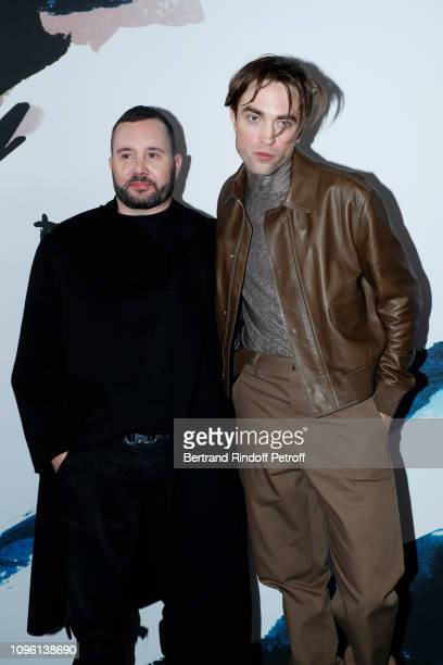 Stylist Kim Jones and actor Robert Pattinson pose after the Dior Homme Menswear Fall/Winter 20192020 show as part of Paris Fashion Week on January 18...