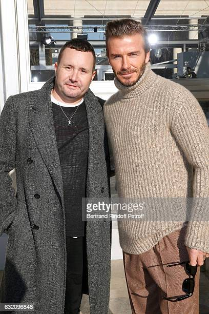 Stylist Kim Jones and David Beckham attend the Louis Vuitton Menswear Fall/Winter 20172018 show as part of Paris Fashion Week Held at Palais Royal on...