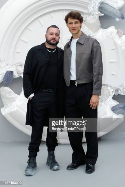 Stylist Kim Jones and Hugo Marchand pose after the Dior Homme Menswear Spring Summer 2020 show as part of Paris Fashion Week on June 21 2019 in Paris...