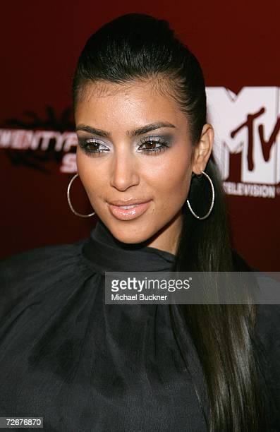 Stylist Kim Kardashian arrives at the kick off party for MTV's Twentyfourseven at Area on November 29 2006 in Los Angeles California