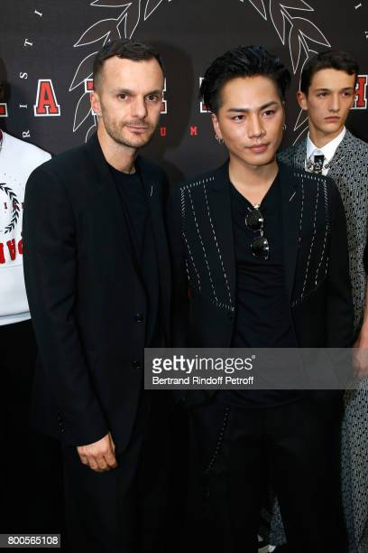 Stylist Kris Van Assche and Hiroomi Tosaka pose Backstage after the Dior Homme Menswear Spring/Summer 2018 show as part of Paris Fashion Week on June...