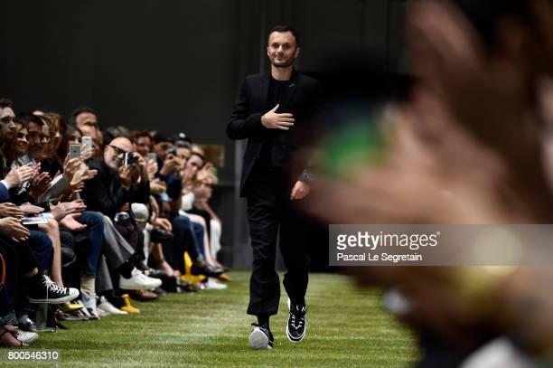 Stylist Kris Van Assche walks the runway during the Dior Homme Menswear Spring/Summer 2018 show as part of Paris Fashion Week on June 24 2017 in...