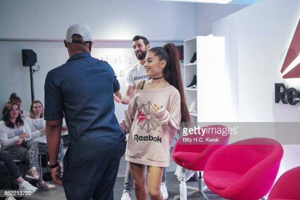 Stylist Law Roach Ariana Grande and Reebok host Chad Wittman attend An Inspiring 'Day in the Life' of Ariana Grande to celebrate new partnership with...