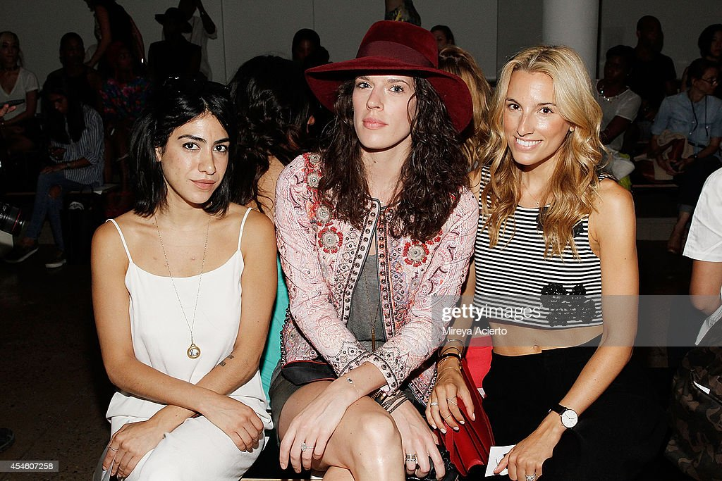 Stylist Leah Snow, accessory designer Emily Kammeyer and model Lisa Dicicco Cahue attend the Houghton runway show during MADE Fashion Week Spring 2015 at Milk Studios on September 4, 2014 in New York City.