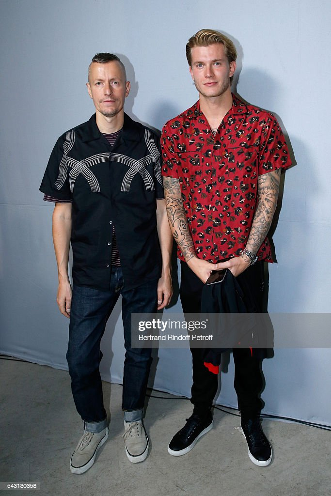 Stylist Lucas Ossendrijver and Football player Loris Karius attend the Lanvin Menswear Spring/Summer 2017 show as part of Paris Fashion Week on June 26, 2016 in Paris, France.