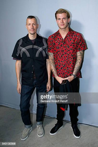 Stylist Lucas Ossendrijver and Football player Loris Karius attend the Lanvin Menswear Spring/Summer 2017 show as part of Paris Fashion Week on June...