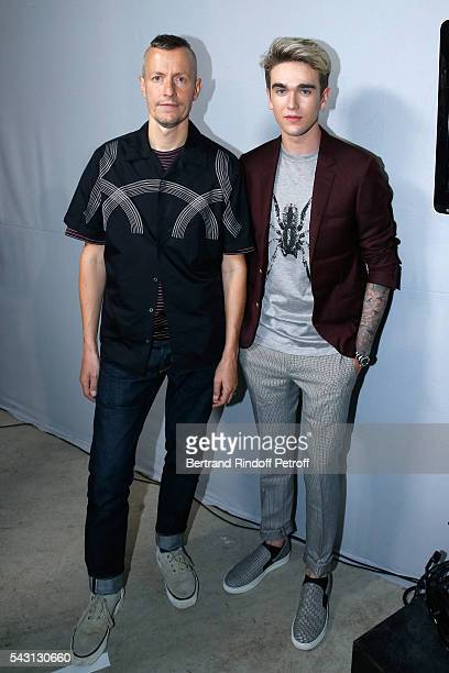 Stylist Lucas Ossendrijver and model Gabriel-Kane Day-Lewis attends the Lanvin Menswear Spring/Summer 2017 show as part of Paris Fashion Week on June...