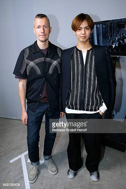Stylist Lucas Ossendrijver and singer Katayose Ryota attends the Lanvin Menswear Spring/Summer 2017 show as part of Paris Fashion Week on June 26,...