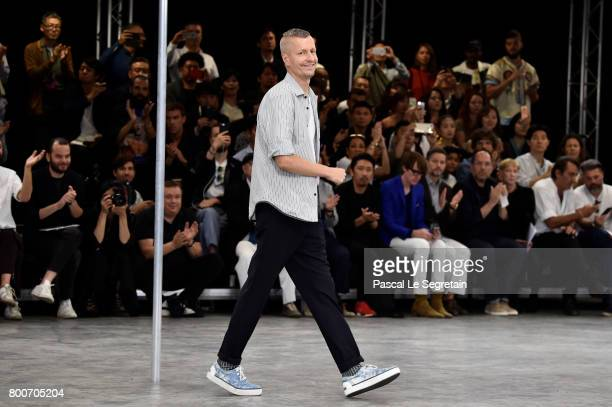 Stylist Lucas Ossendrijver walks the runway during the Lanvin Menswear Spring/Summer 2018 show as part of Paris Fashion Week on June 25, 2017 in...