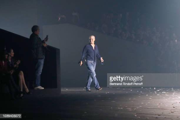 Stylist Maria Grazia Chiuri acknowledges the applause of the audience at the end of the Christian Dior show as part of the Paris Fashion Week...