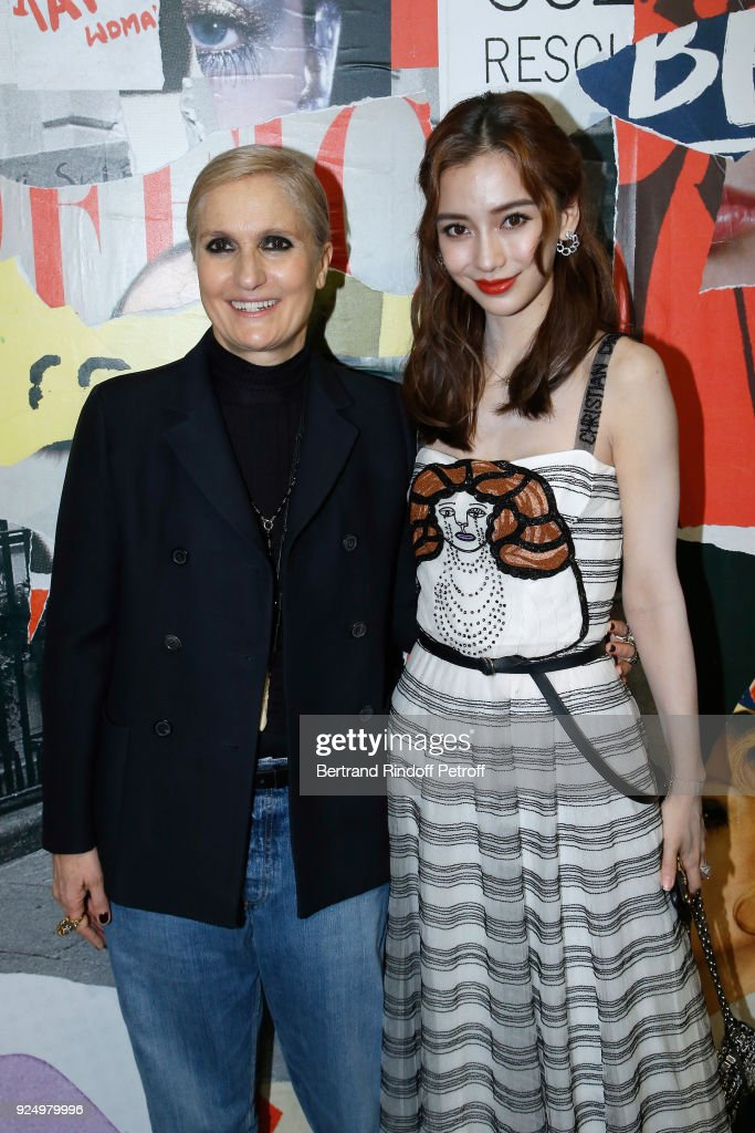 Stylist Maria Grazia Chiuri and AngelaBaby pose after the Christian Dior show as part of the Paris Fashion Week Womenswear Fall/Winter 2018/2019 on February 27, 2018 in Paris, France.