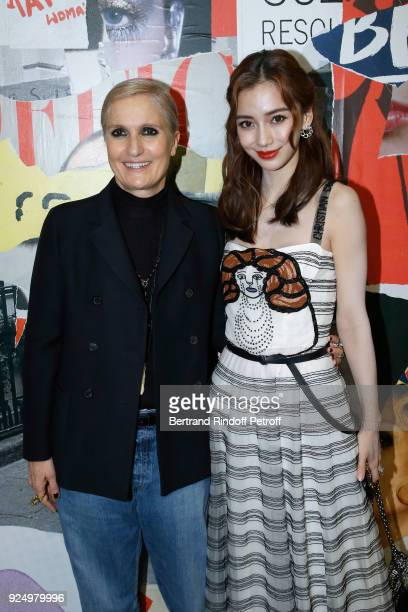 Stylist Maria Grazia Chiuri and AngelaBaby pose after the Christian Dior show as part of the Paris Fashion Week Womenswear Fall/Winter 2018/2019 on...