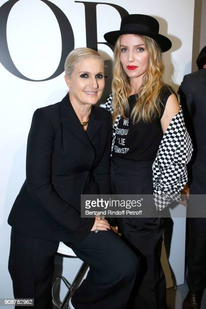 Stylist Maria Grazia Chiuri and Annabelle Wallis pose after the Christian Dior Haute Couture Spring Summer 2018 show as part of Paris Fashion Week on...